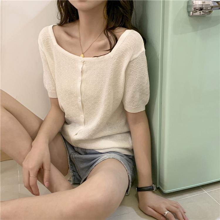 Sommer T-Shirt Dünne Strickjacke Kurzarm Breasted Top Gestrickte Bottoming Hemd Frauen Strickwaren