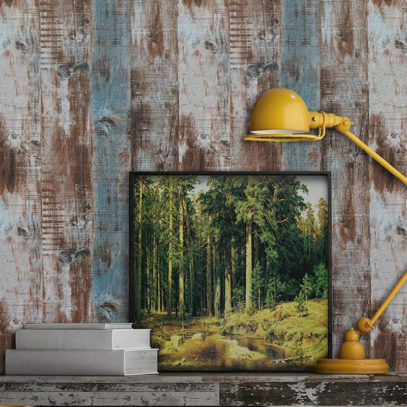 Wallpapers Vintage Wood Self Adhesive Paper Removable Peel Stick Wallpaper Blue Panel Interior Film Leave No Trace Surfaces Easy Clean