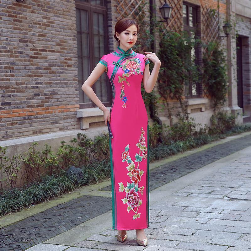 Dress da donna rosa signora vestito orientale cheongsam stile cinese elegante lungo qipao sexy sottile abiti da sposa abiti da sposa Vestidos XS-3XL abbigliamento etnico