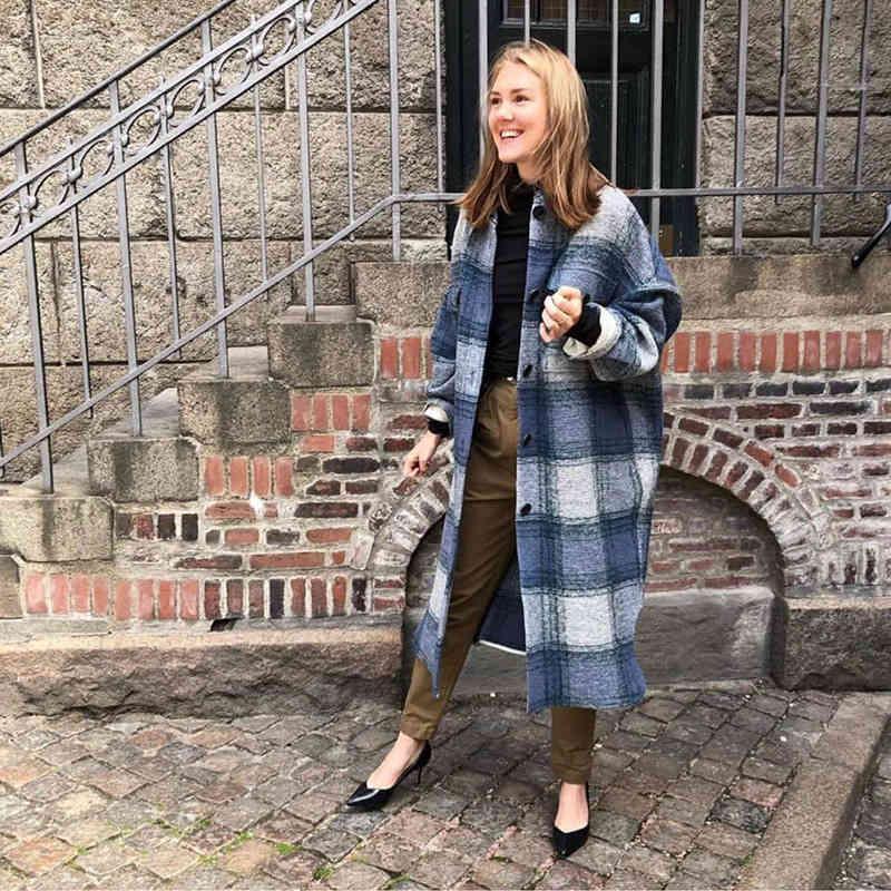 Wolle Ins Französisch Chic Herbst / Winter Single Breasting Long Mischungen Trenchcoat Für Frauen / Männer Inaf
