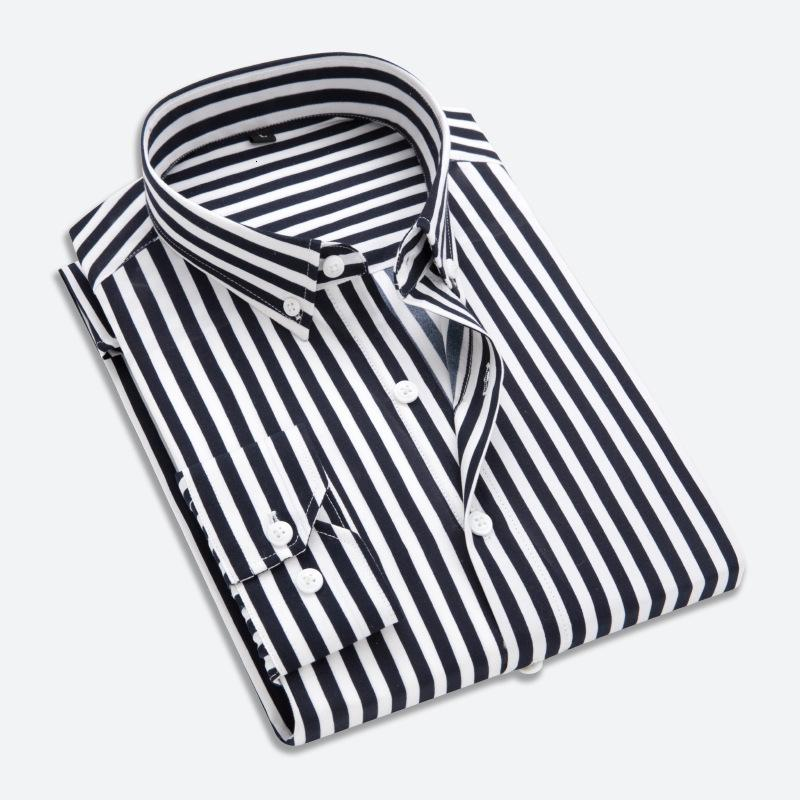 Camisa a rayas de manga larga para hombre Coreano Slim Fit Negocio Ocio Jóvenes Moda Guapo