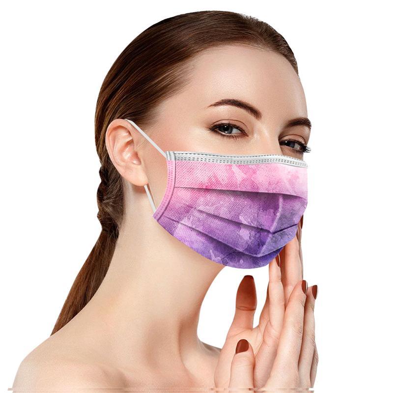 2021 بالغين الأطفال الملونة التعادل صبغ قناع الوجه المتاح 3 رقائق غير المنسوجة مكافحة الغبار مكافحة التلوث PM2.5 القابل للتصرف الفم غطاء قناع dhl
