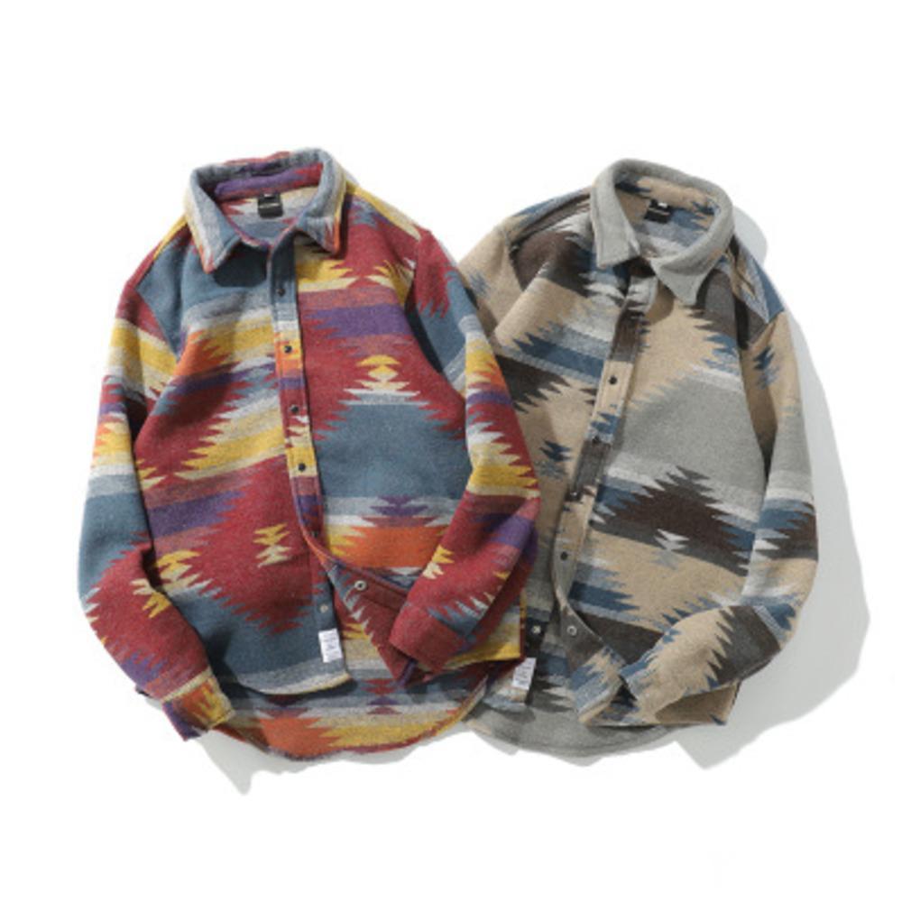 Хип-хоп галстук краситель привязки кнопка с длинным рукавом рубашки мужчины мода повседневная уличная одежда платья рубашка рубашки мужские битник рубашки 210325