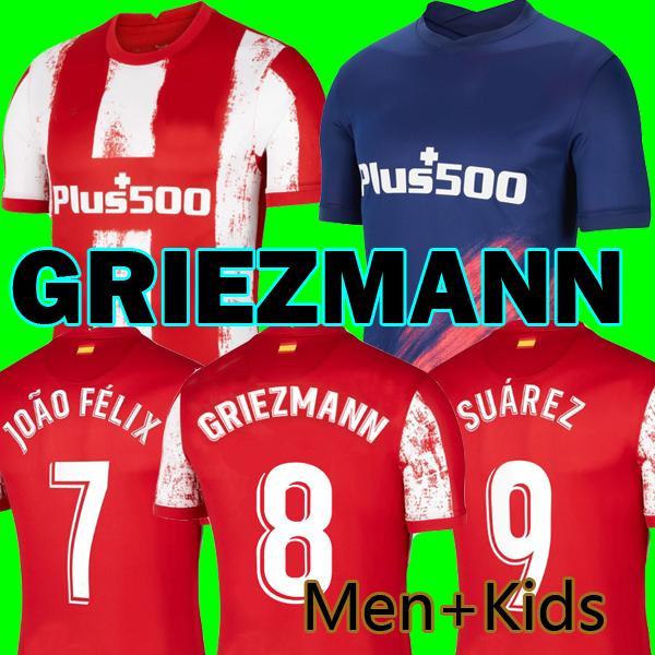 Atletico مدريد 21 22 Grizmann Suarez Soccer Jersey Lemar João Félix 2021 2022 M. Llorente Koke Carrea Carrasco Camiseta Football Shirts زي الرجال + Kids Kit مجموعات