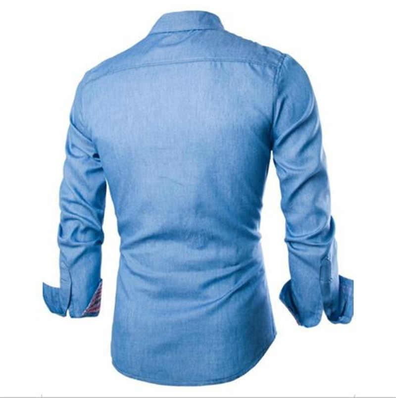 Shirt Denim Designer T-shirts à manches longues Mens Casual Turn Down Collier Vêtements de couleur unie