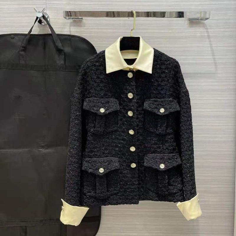 유럽과 미국 여성의 착용 2021 겨울 긴 소매와 옷깃이있는 새로운 싱글 브레스트 블랙 트위드 자켓