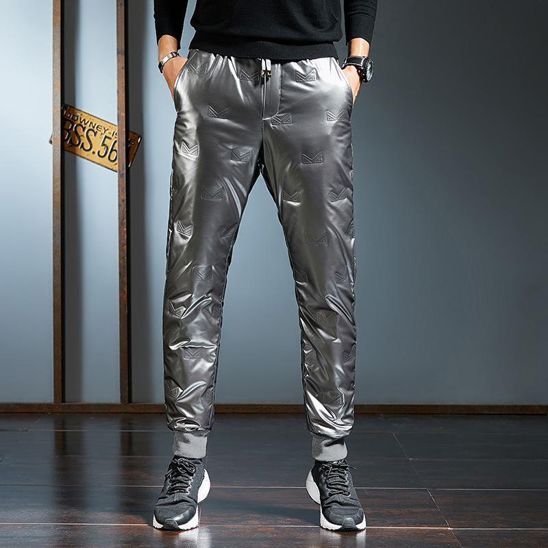Calças masculinas 2021 homens vestindo apertado dentro da fina bexiga ultra grossa calças quentes de algodão inverno jovem cultivar moralidade