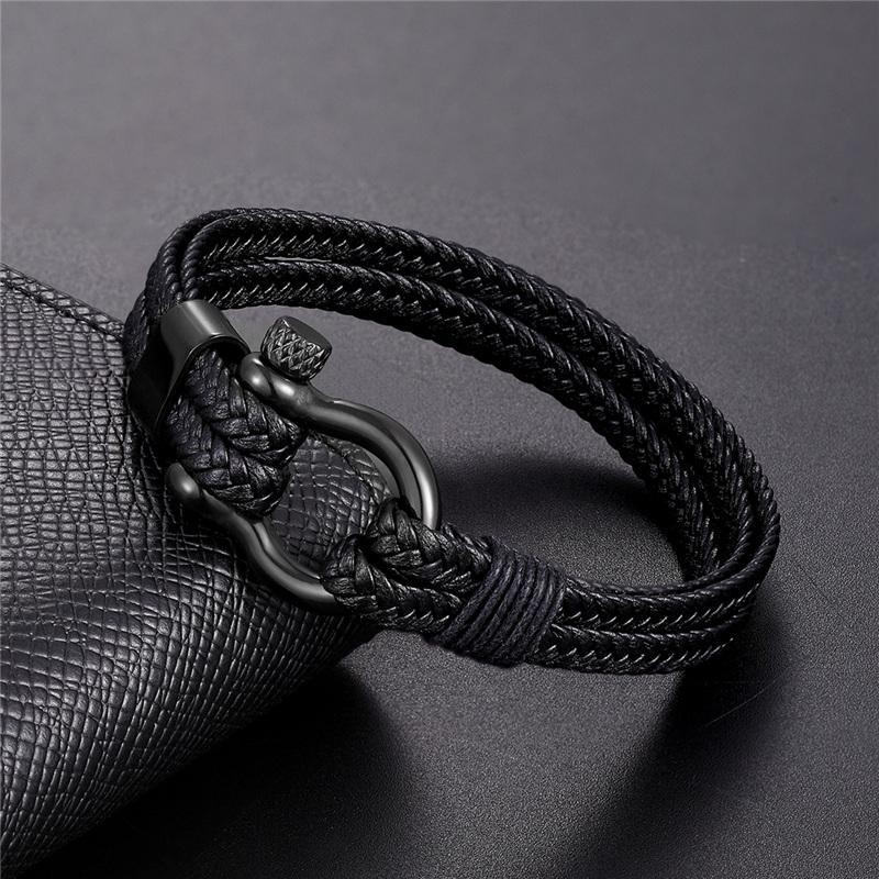 Einfache mode armbänder männer schwarz mehrere leder armband edelstahl männlich armreifen armband schmuck geschenke pulseira link, kette