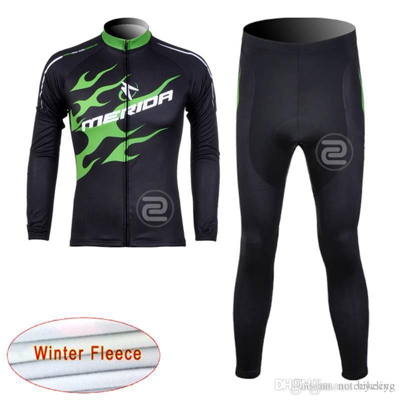 Merida Team Cycling Winter Thermal Fleece Jersey (BIB) Pantalones Conjuntos Nueva Ropa MTB Bicicleta Secar rápido Mangas largas Maillot C1217