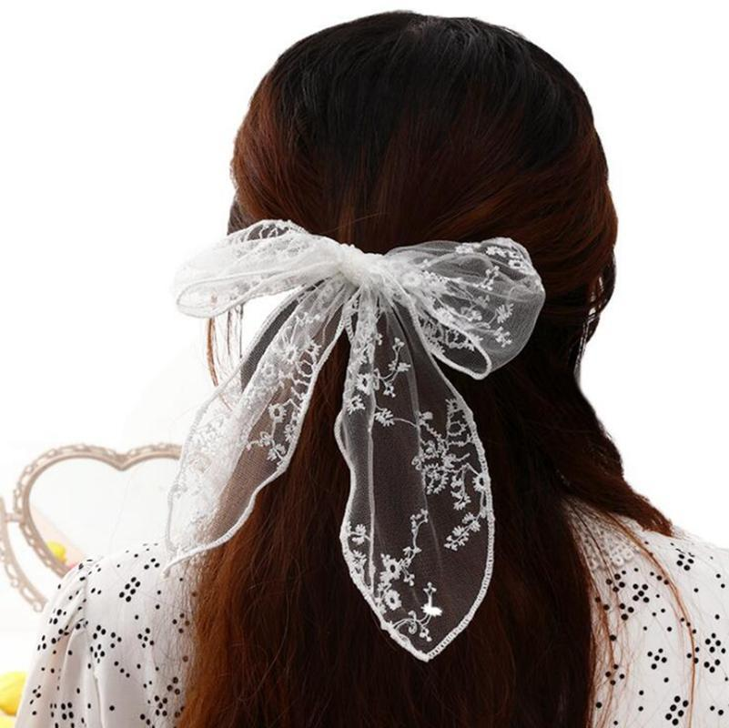 Moda Mulheres Meninas Bonito Sólido Big Bow Fita Grampos de Cabelo Doce Doce Headband Headpins Barrettes Acesso