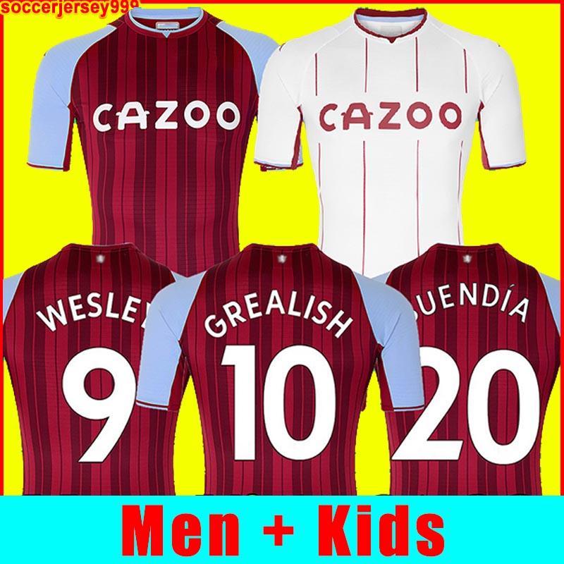 21 22 Aston Barkley Jersey Buendía Traore Futbol Futbol Gömlek 2021 2022 Watkins Wesley Ghazi M.Trezeguet Villa McGinn Erkekler + Çocuk Kiti Üniforma