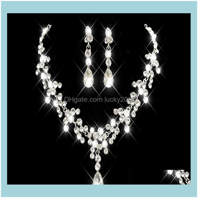 Aessories Wedding, Eventskorean Style Orecchino Collana Set Sparkling Strass cristalli Fiore Piercing Earlip Party Bridal Jewelry Vo9s