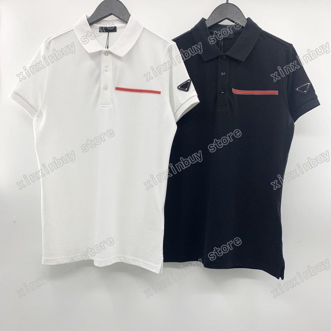 21SS Men Stampato T-Shirt Polos Designer Designer Red Etichetta Triangolo Triangolo Manica Paris Vestiti Mens Camicia Tag Stile sciolto Bianco Bianco