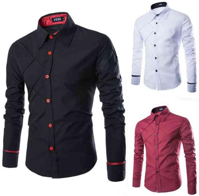 셔츠 남성 긴팔 셔츠, 캐주얼 격자 디자인 셔츠