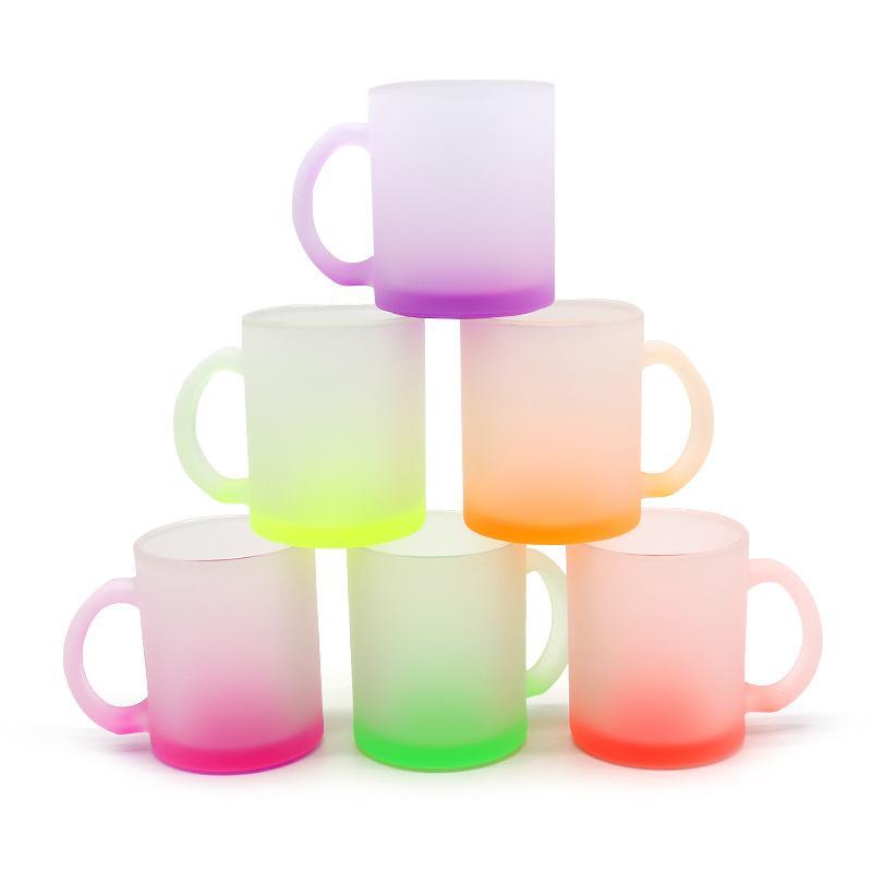 12oz personalizado sublimação caneca em branco Fluorescente copos de vidro fosco transferência de calor Copo de água do agregado familiar criativo DIY presente
