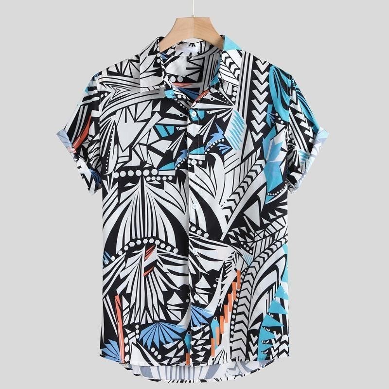 Männer Lässige Hemden Ästhetische Druck Herren Hawaiianer Umdrehung Kragen Sommer Kleidung Urlaub Strand Ethnische Art Mann Tops Camisa Masculina