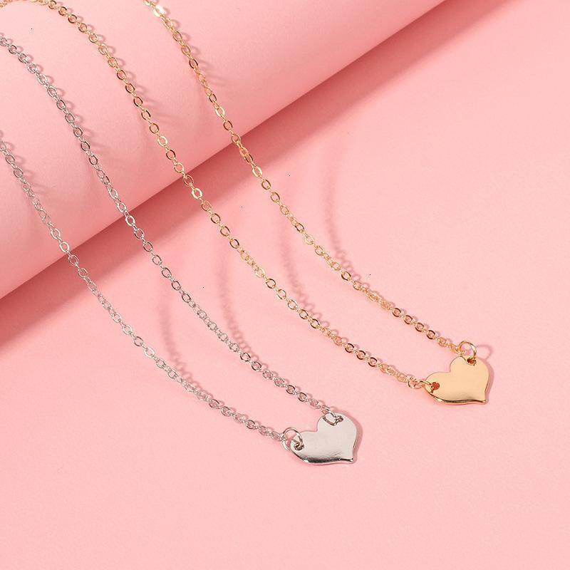 02CO 70% DE DESCUENTO Nuevos accesorios Sencillo y versátil amor colgante collar de choque coreano Cadena de clavícula de estilo corto para mujer S8BX