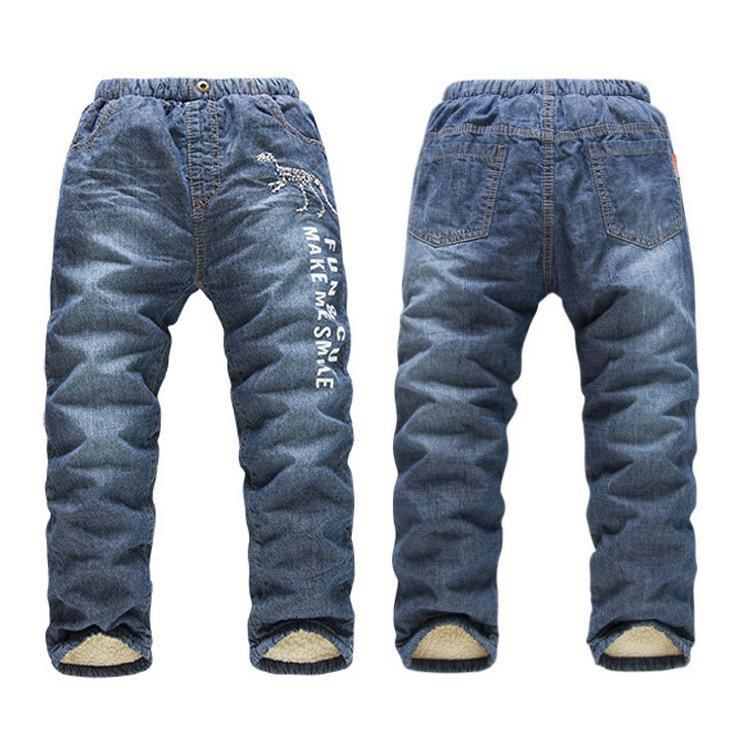 Französisch KK Kaninchen Herbst und Winter Elastische Taille Waschen Weiche Kinder Plüsch Jeans Sl1298