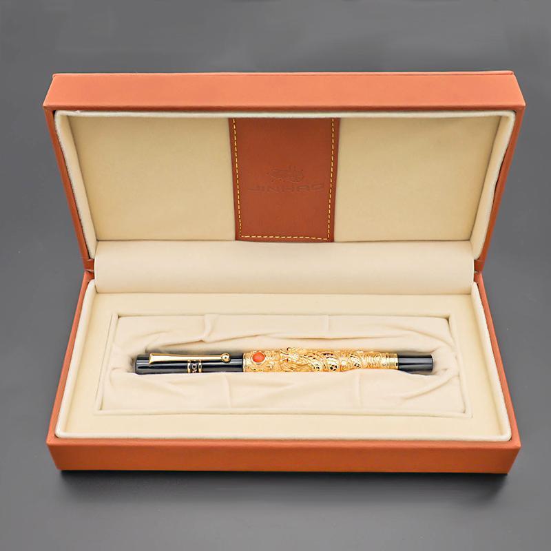 Tinta de dragão da caneta de luxo das canetas da fonte Jinhao 0.5mm com uma caixa de presente da extremidade do grande negócio