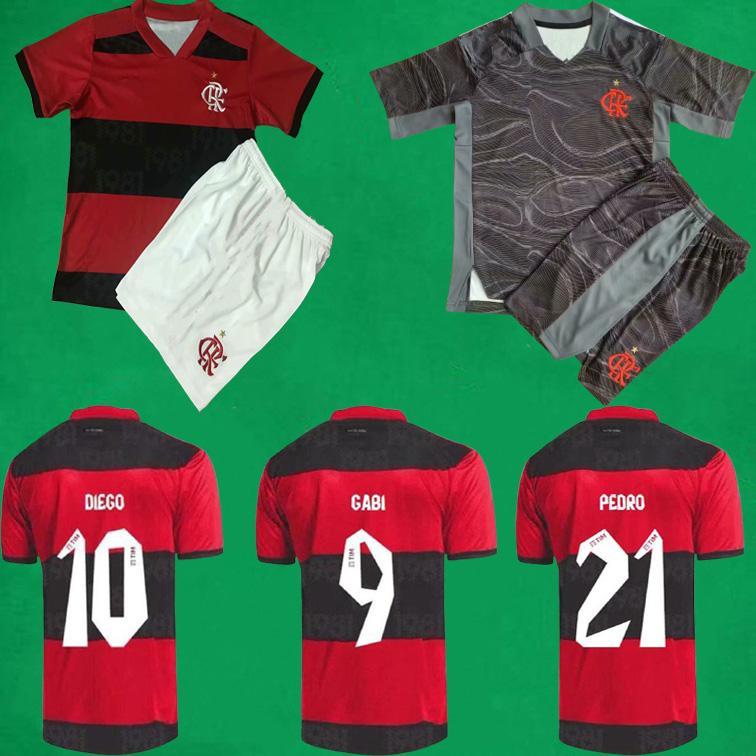 21/22 Flamengo Fussball Jersey Shorts 2021 Auswärts Gerson Gabi Diego E. Ribeiro Pedro Maillots Foot de Arracaeta B. Henrique Football Hemden Torhüter Herren + Kinder Kits