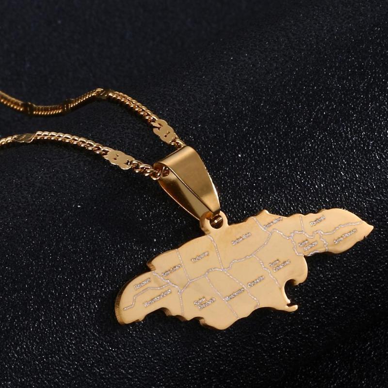 Collares colgantes Acero inoxidable Trendy Jamaica Mapa Jamáica Joyería del encanto