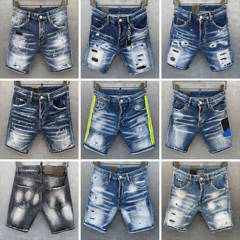 Herren kurze Jeans Gerade Löcher Eng Denim Hosen Freizeit Nachtclub Blauer Baumwolle Sommer Italien Stil