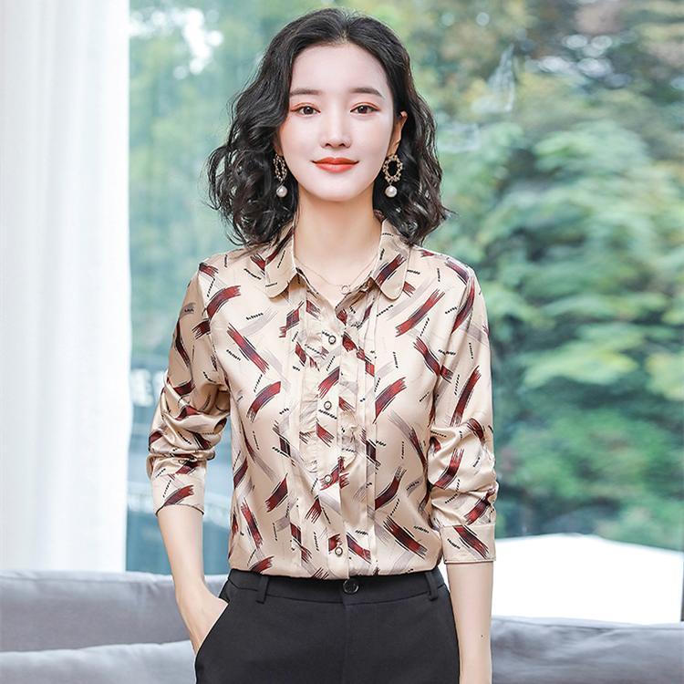 빈티지 인쇄 된 활주로 실크 블라우스 여성 우아한 버튼 옷깃 긴 소매 셔츠 슬림 오피스 숙녀 새틴 셔츠 아름다운 봄 여름 플러스 크기 탑 도매