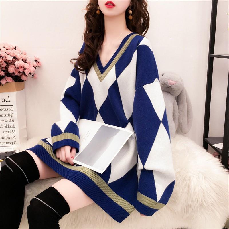 Frauenpullover Langarm V-Ausschnitt Diamant Plaid Print Pullover Batwing 2021 Winter Koreanische Version Weibliche Lose