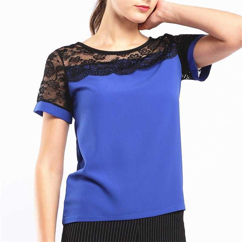 Kadınlar için Biboyamall Bluzlar Yaz Kadın Tops Dantel Kısa Kollu Rahat Şifon Bluz Kadın İş Giyim Gömlek Üst Artı Boyutu 5XL 210312