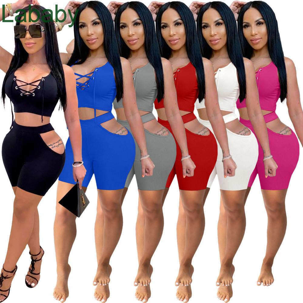 Women Tracksuits Two Pieces Set Designer Bandage Hollow Out Sexy Slim Solid Color Jogger Sets Yoga Outfits Plus Size Sportwear