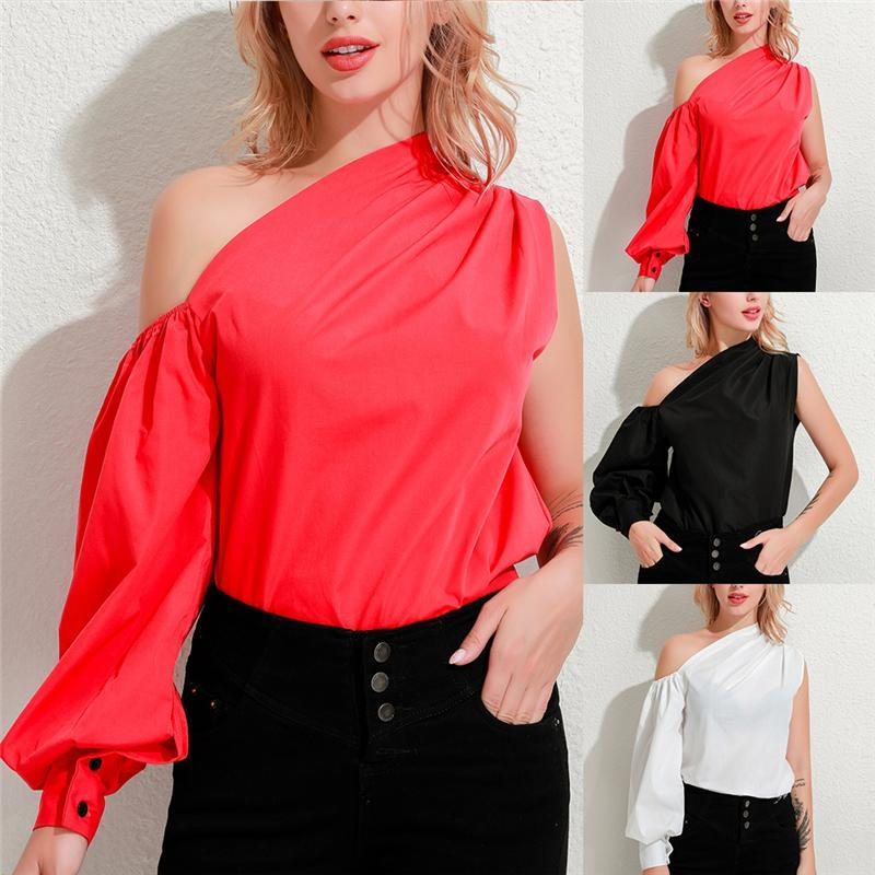 Summer Sexy One Off Shoulder Women Tops And Blouses Long Lantern Sleeve Solid Color Shirts Casual Elegant Club Blouse Women's &