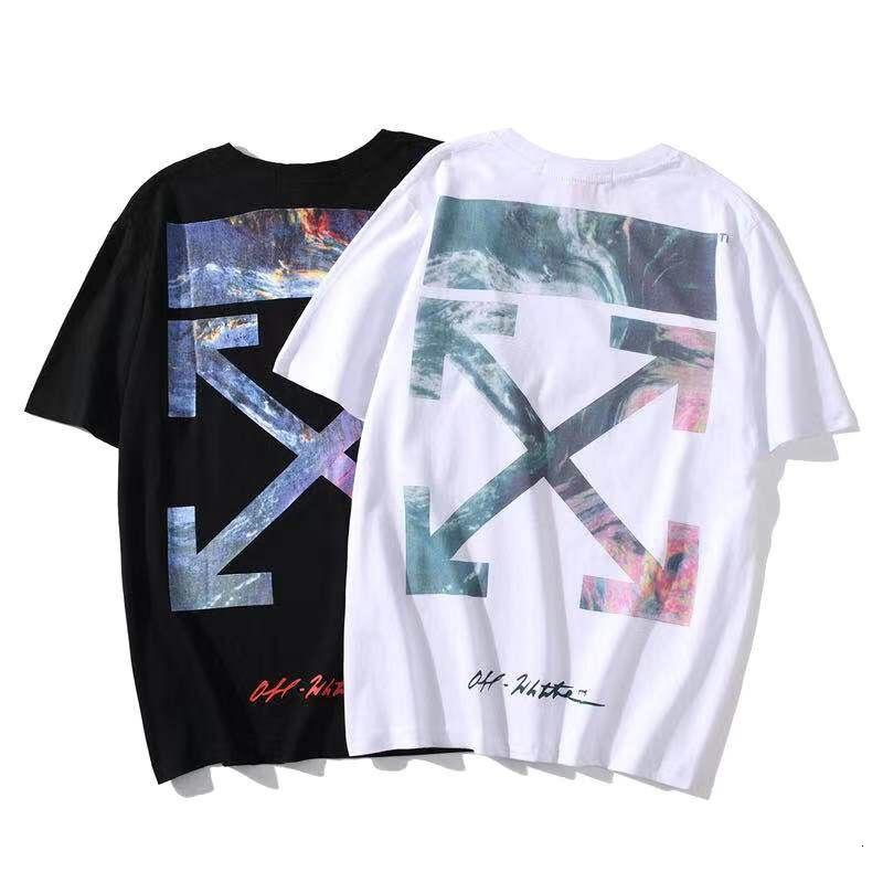 Chao Brand Off Volcanic Sea Stampa Coppia Coppia Collo Allentato Top Shirt TOTTERD TOTTERED T-shirt Versatile