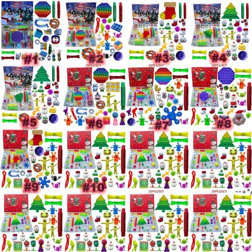 24/25 дней Рождественский Fidge Toy Files Xmas Countday календарь слепых ящиков Push Bubbles Kids Gifts Advent Календарь рождественской коробке по морю HHD10089