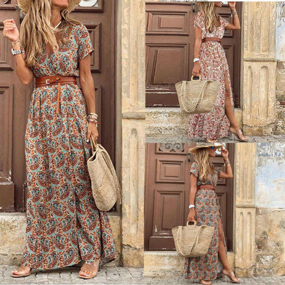 الصيف يجب أن- أزياء الأزياء البوهيمي الخامس الرقبة اللباس الأزهار