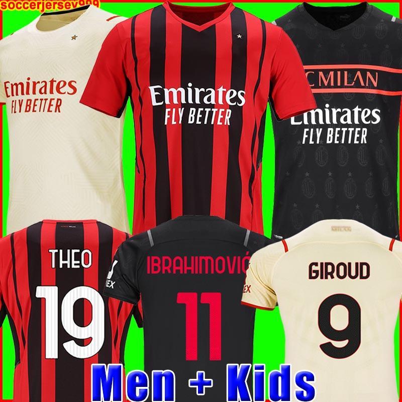 IBRAHIMOVIC 21 22 maglia da calcio 2021 2022 maglie calcio BRAHIM BENNACER KESSIE ROMAGNOLI CALHANOGLU TONALI camisa de futebol maillot kit uomo + bambini