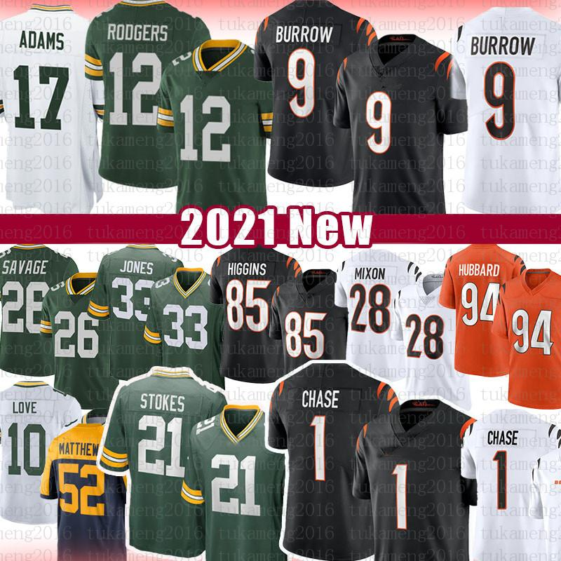 12 Aaron Rodgers 9 Joe Burrow 1 Ja'marr Chase 21 Eric Stokes Football Jersey 33 Jones Davante Adams Love Darnell Savage Jr Tee Higgins Joe Mixon Boyd Sam Hubbard A.J. Verde
