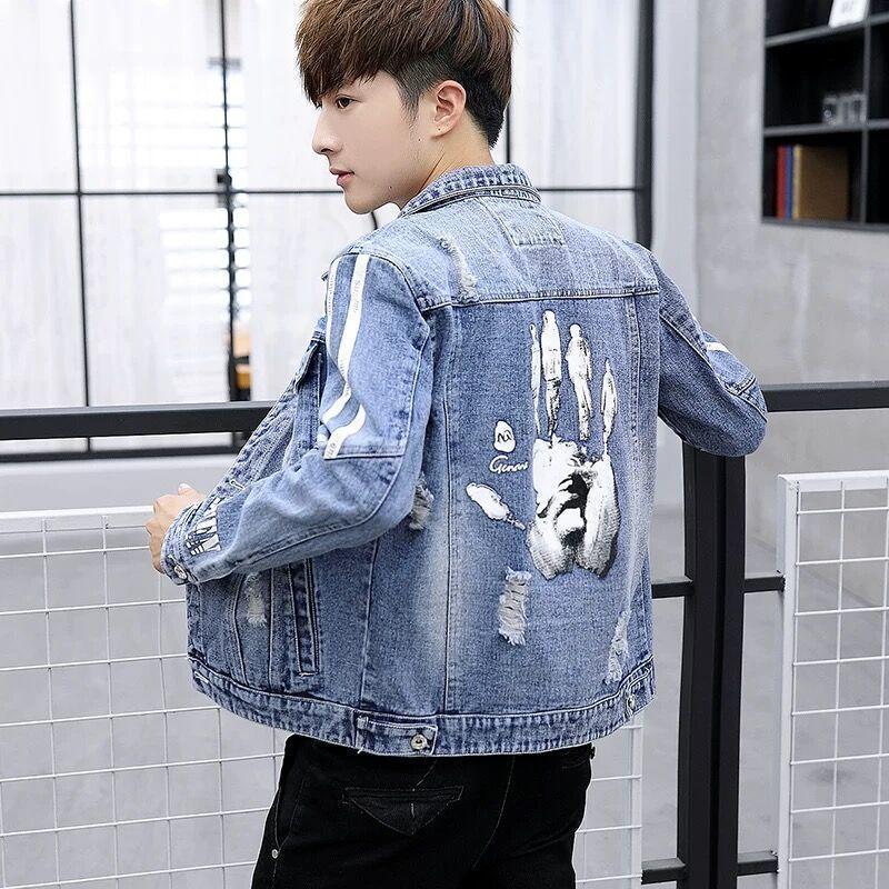 Джинсовая куртка мужская пальма Palm Print повседневная довольно красивое пальто