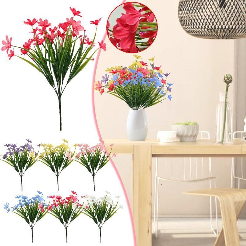 Bundles Artificial Outdoor Flowers Fake Green Shrubs Garden Porch Diy Wedding Flower Bouquet Home Room Table Decor Decorative & Wreaths