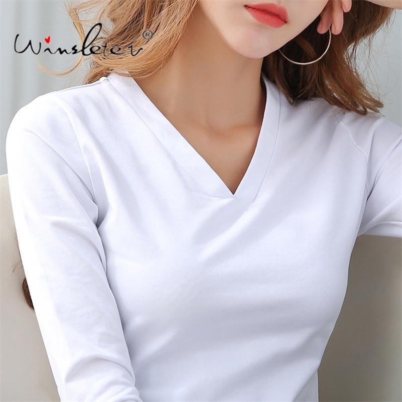 T-shirt solide en coton Femmes Col V-Col Ventille à manches longues Automne Tops T-shirt Incordié Plus Taille S- 210317