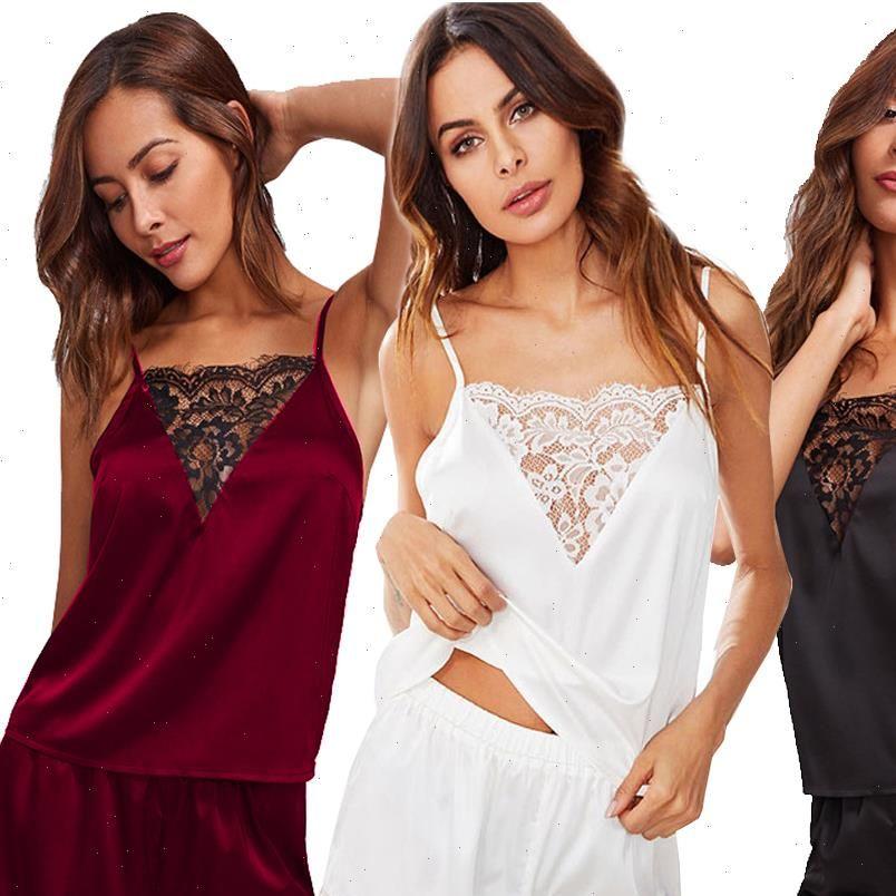 Fantasia Sexy Satin Silk Womens Sleepwears Lace Trim V Pescoço Chemise Camisole Shorts Pijamas Set Lingerie Honeymoon Sleekwear Intimates