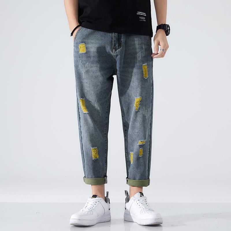 Erkek Yırtık Kot Işık Mavi 100% Pamuk Sıkıntılı Kırık Delik Streetwear Kırpılmış Pantolon Denim Elastik Bel ve Baggy Bacak Erkekler