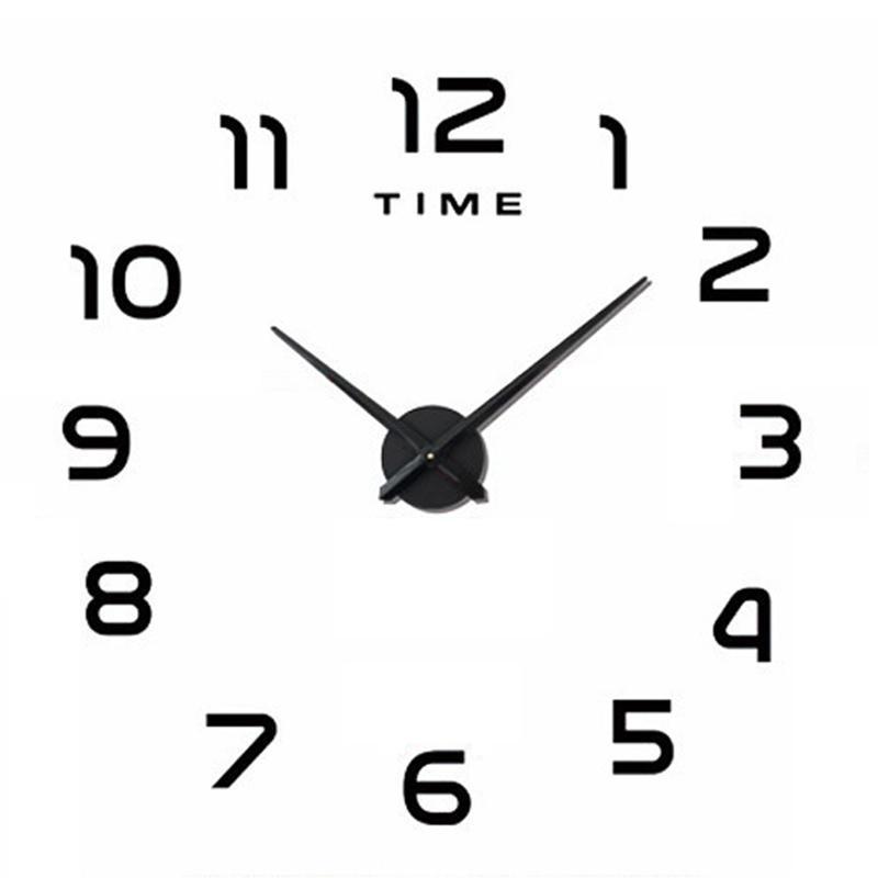 프로모션! 빛나는 벽시계 큰 시계 시계 Horloge 3D DIY 아크릴 미러 스티커 쿼츠 장식 현대 음소거 Clo