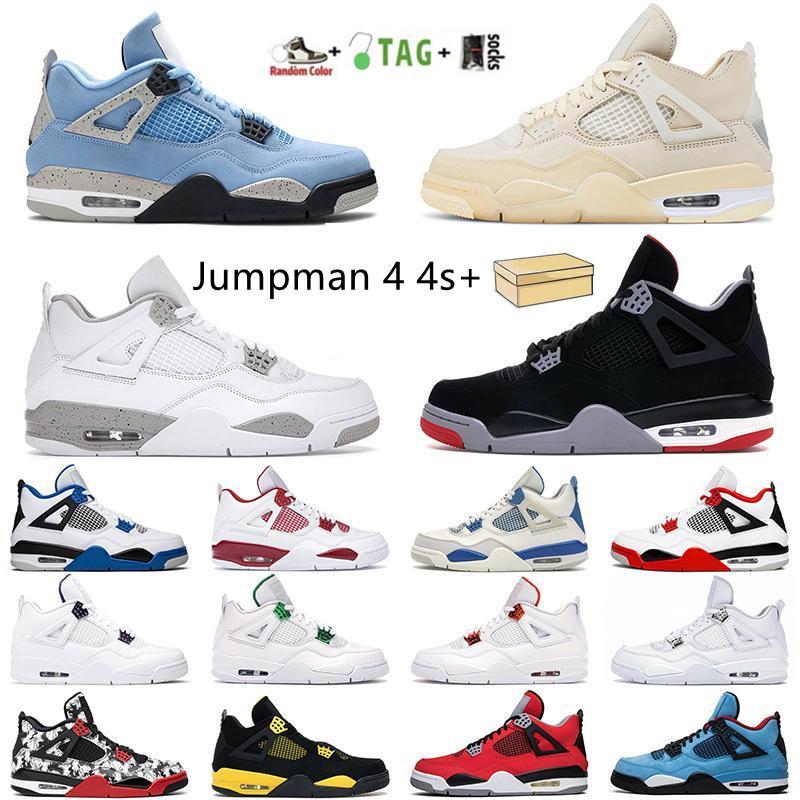 Airjordan4 الرجعية 4S الأحذية وصول الجملة jumpman الأبيض اسمنت صبار جاك الرجال المرأة كرة السلة أحذية نيون المحكمة الأرجواني bred رجل المدربين الرياضة