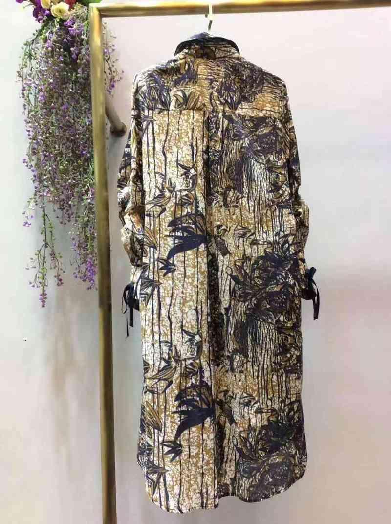 Capris Chegada 2021 Primavera verão mulheres viradas colarinho digital imprime botões túnica up casual longa camisa vintage