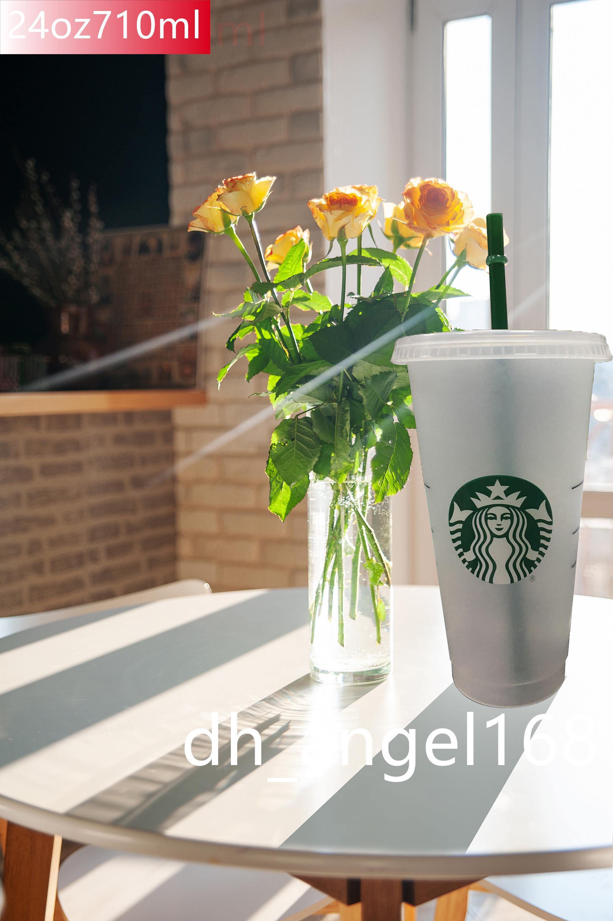 Starbucks 24oz Bicchieri luminosi eco di plastica del latte di latte di caffè del caffè del caffè bevanda trasparente tazze piatte riutilizzabili Cilindro pulito Cilindro di paglia Cucina paglia da pranzo Dhlware Dhl