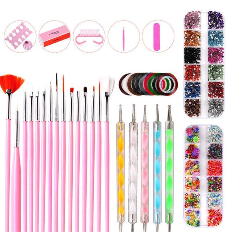Profession Nail Tool Set Peint Point Point Point de perceuse Manucure Fichier Art Strass Strass Bijoux Kit acrylique 38 PCS / SET1