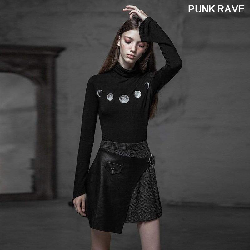 Röcke Punk Mode Sexy Frauen Schwarz und Gitter Falten Rock Gothic Persönlichkeit Faux Leder Rubel Taille Gürtel Rave Opq-433