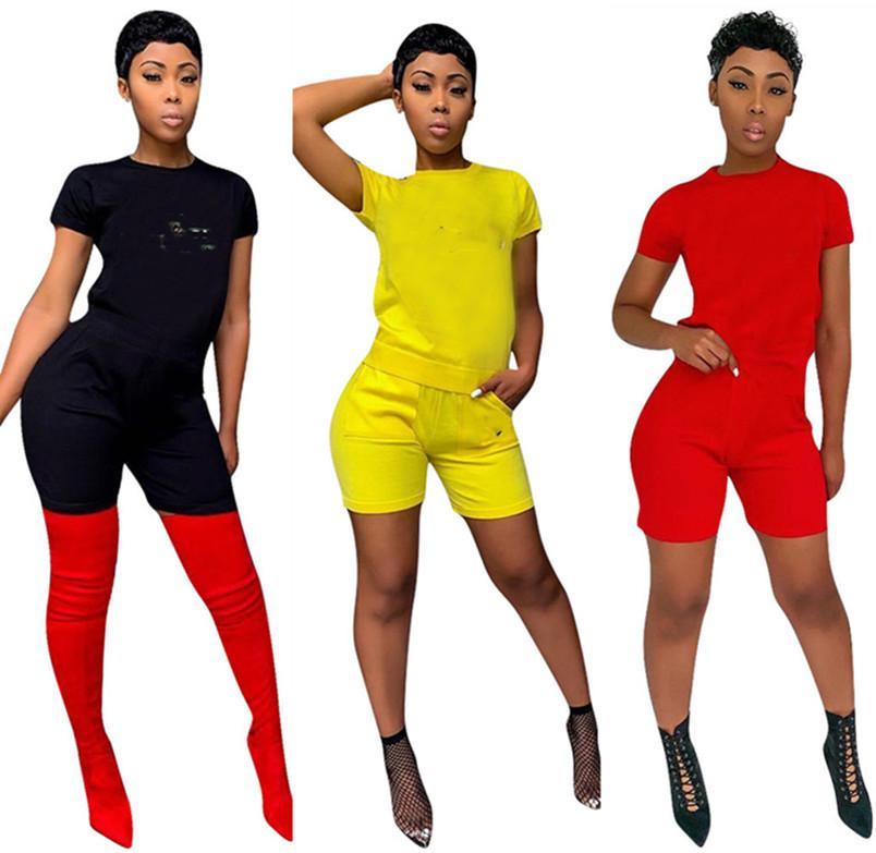 Yaz Giyim Kadın 2xl Eşofman Seksi T-shirt Şort Jogger Takım Elbise 2 Parça Setleri Yoga Kıyafetler Kazak Gömlek Capris Moda Rahat 4509
