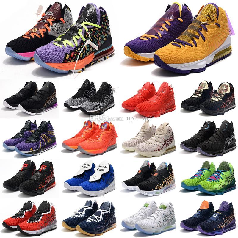 Hangi Lebron 17 XVII Mens Açık Ayakkabı Çok MVP Cesaret Kırmızı Altın Miami Mavi CNY Sneakers Tenis Açık Havada Ayakkabı Boyutu 40-46