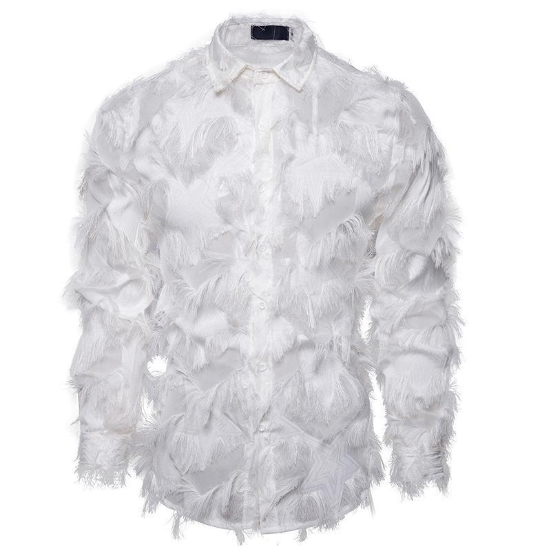 남성용 셔츠 손수 만든 3 차원 깃털 패브릭 특징 남성 캐주얼 헨리 칼라 롱 슬리브 셔츠